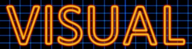 Visual neon sign. Abstract 3d rendered words visual orange neon sign on blue wire background Royalty Free Stock Image