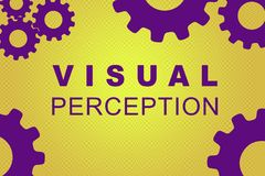 VISUAL PERCEPTION concept. VISUAL PERCEPTION sign concept illustration with violet gear wheel figures on yellow gradient Royalty Free Stock Images