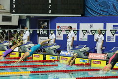 Visual places in the swimming pool Olympic in Moscow Stock Photography