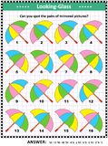 Visual puzzle with colorful umbrellas Royalty Free Illustration