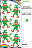 Visual puzzle: find the mirrored copy for every leprechaun picture. Visual puzzle (suitable both for kids and adults): Match the pairs - find the exact mirror Royalty Free Stock Photography
