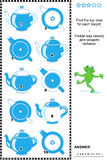 Visual Puzzle - Find The Top View For Each Teapot Stock Photography