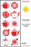 Visual puzzle - find the top view for each teapot. Visual puzzle or picture riddle: Find the top view for each teapot. Answer included Stock Images