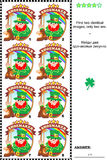 Visual puzzle - find two identical badges with leprechaun the shoemaker. Visual puzzle: Find two identical images of St. Patrick's Day themed badges with royalty free illustration