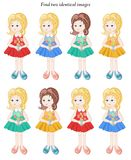 Visual puzzle. Find two identical girls. Royalty Free Stock Images