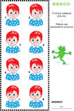 Visual puzzle - find two identical images of boys. Visual puzzle: Find two identical pictures of boys with red hair and blue eyes. Answer included.n Royalty Free Stock Images