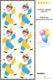 Visual puzzle - find two identical images of clowns. Visual puzzle: Find two identical pictures of little cheerful circus clowns. Answer included Royalty Free Stock Image