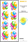 Visual puzzle - find two identical images of colorful balloons Royalty Free Stock Image
