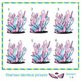 Visual puzzle -  Find two identical images of crystal Stock Photo