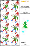 Visual puzzle - find two identical images of gnomes. Visual puzzle: Find two identical images of cheerful gnomes. Answer included Royalty Free Stock Image