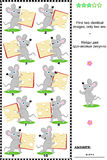 Visual puzzle - find two identical images. Visual puzzle: Find two identical images of happy mice with cheese slices. Answer included Royalty Free Stock Photography