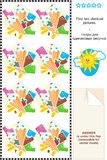 Visual puzzle - find two identical images of ice cream bars and cones Royalty Free Stock Images