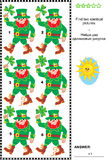 Visual puzzle - find two identical images of leprechauns. St. Patrick's Day themed visual puzzle: Find two identical pictures of leprechauns. Answer included royalty free illustration
