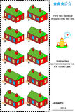 Visual puzzle - find two identical images. Visual puzzle: Find two identical pictures of country houses with red walls and green roofs (plus same task text in Stock Images