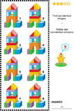 Visual puzzle - find two identical images of toy towers. Visual puzzle: Find two identical pictures of toy towers made of colorful building blocks. Answer Royalty Free Stock Image