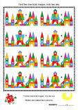 Visual puzzle - find two identical images of toy towns. Visual puzzle: Find two identical images of toy town buildings. Answer included stock illustration