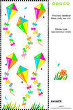 Visual puzzle - find two identical kites. Visual puzzle or picture riddle: Find two identical kites. Answer included Royalty Free Stock Photos