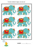 Visual puzzle - find two identical pictures of elephants. Visual puzzle or picture riddle: Find two identical images of elephants. Answer included royalty free illustration