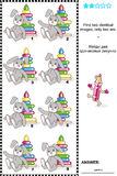Visual puzzle - find two identical pictures. Visual puzzle: Find two identical images of toys. Answer included Stock Photo