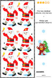 Visual puzzle - find two identical pictures of Santa. Christmas or New Year visual puzzle or picture riddle: Find two identical images of Santa Claus. Answer Stock Photos