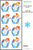 Visual puzzle - find two identical pictures - skating snowmen Stock Images