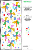 Visual puzzle - find two identical pinwheels. Visual puzzle: Find two identical pinwheel toys. Answer included Stock Photo