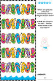 Visual puzzle - find two mirrored copies of flip-flops rows. Visual logic puzzle: Which two pictures of the five flip-flops rows are the exact mirror images of Stock Photo