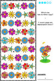Visual puzzle: find the unique row that has no mirror copy. Visual logic puzzle: Which row of colorful flowers has no mirrored copy? Plus same task text in Royalty Free Stock Photography