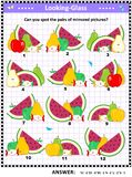 Visual puzzle with with fruit and berry Royalty Free Illustration