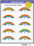Visual puzzle for kids with rainbows. Visual puzzle or picture riddle for children: Find the right rainbows. Answer included Stock Photo