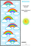 Visual puzzle for kids with rainbows. Visual puzzle or picture riddle for children: Find the right rainbows. Answer included Royalty Free Stock Photos