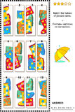 Visual puzzle - match the halves - gumboots Royalty Free Stock Images