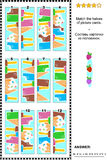 Visual puzzle - match the halves - ice cream Stock Photography