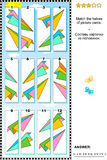 Visual puzzle - match the halves - paper planes Royalty Free Stock Photos