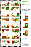 Visual puzzle - match the halves - socks Stock Photos