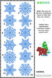 Visual puzzle - match the pairs of identical snowflakes. Winter and holidays themed visual puzzle: Match the pairs of identical snowflakes. Answer included Royalty Free Stock Photos