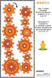 Visual puzzle with rotating gears. Visual mechanics or math puzzle with rotating clockwise and counterclockwise gears. Answer included Royalty Free Stock Photography