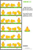 Visual puzzle with rows of cute little chicks Stock Photo