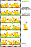 Visual puzzle with rows of cute little ducklings. Visual logic puzzle or picture riddle: Match the pairs - find the exact mirrored copy for every row of cute Royalty Free Stock Photo