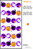 Visual puzzle with rows of Halloween characters Stock Photos