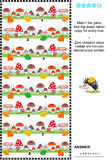 Visual puzzle with rows of mushrooms. Visual logic puzzle: Match the pairs - find the exact mirror copy for every picture - row of mushrooms. Answer included Royalty Free Stock Image