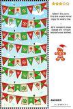 Visual puzzle with rows of winter holidays bunting flags Stock Image