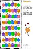 Visual puzzle with rows of yarn balls Royalty Free Stock Images