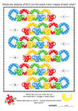 Visual puzzle: spot the mirrored images. Mental gym visual logic puzzle (suitable both for kids and adults): Which two pictures of the six colorful polka-dot Stock Images