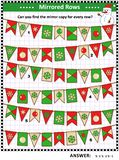 Visual puzzle with strings of winter holidays bunting flags vector illustration