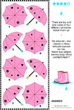 Visual puzzle with top and side views of umbrellas. Pink umbrellas visual puzzle: There are top and side views of four different umbrellas. Match them up! Answer Stock Photos