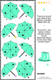 Visual puzzle with top and side views of umbrellas. Turquoise umbrellas visual puzzle: There are top and side views of four different umbrellas. Match them up! Stock Photography