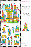 Visual puzzle - toy town buildings and details. Visual puzzle: What of the 2 - 11 are not the fragments of the picture 1 of toy town buildings? Answer included Stock Photography