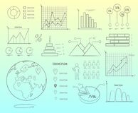 Visual Representation of Data in Graphics Outline Royalty Free Stock Images