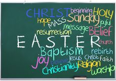 Easter tags on green chalkboard Royalty Free Stock Photo